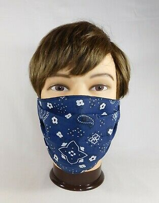 Quality Handmade Adult Navy Blue Bandana Fabric Face Mask Elastic Washable