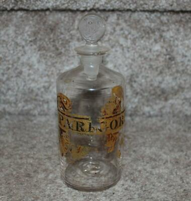Antique Paregoric Medicine Apothecary Bottle Painted Label As Is 5.5""