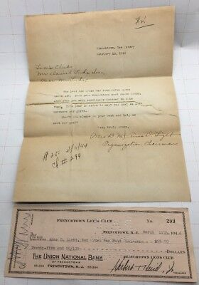 1944 Frenchtown Lions Club Canceled Check To Red Cross War Fund , WW2 Era Letter