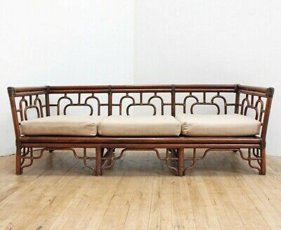 Chinese Chippendale Rattan Leather Sofa Chinoiserie Hollywood Regency Couch