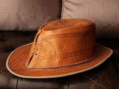 Vintage Ladies Tan Leather Outback Hat, Great Condition! Cool, Funky!