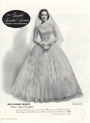 Vintage advertising print ad Bride Wedding Gown dress 1955 Gimbel Pa Mis Bradley