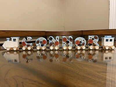 CONNOR Baby Boy Magnetic Alphabet Name Train Sports Balls Hand Painted CONOR