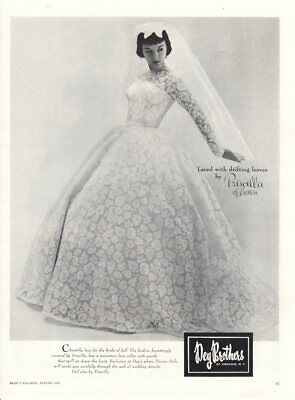 Vintage advertising print ad Bride Wedding Gown dress 1955 drifting leaves lace