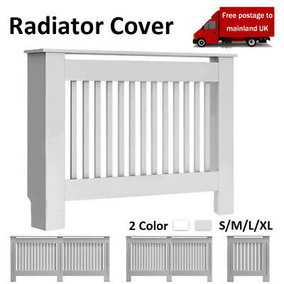 Radiator Cover Grey Modern Painted Wall Cabinet Vertical Grill MDF Furniture