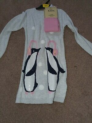 Marks And Spencers Girls Knitted Penguin Dress And Tights Set Age 6-7 Years Bnwt