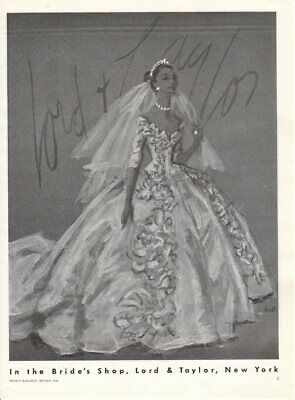 Vintage advertising print ad Bride Wedding Gown dress 1955 Lord & Taylor Hall ad