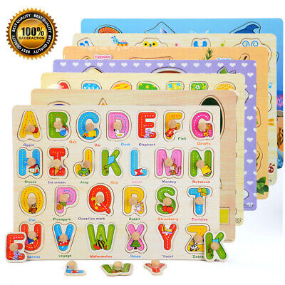 Wooden Puzzle Baby Kids Toddler Jigsaw Alphabet Letters Animal DIY Learning Toys