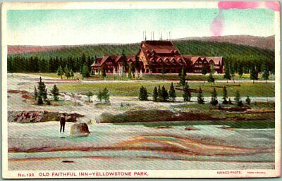 "1910s Yellowstone National Park Postcard ""OLD FAITHFUL INN"" Haynes / Unused"