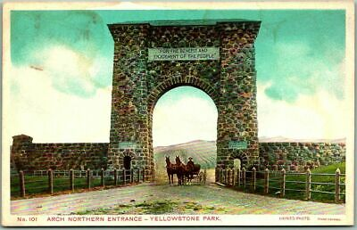 "1910s Yellowstone National Park Postcard ""ARCH NORTHERN ENTRANCE"" Haynes Unused"
