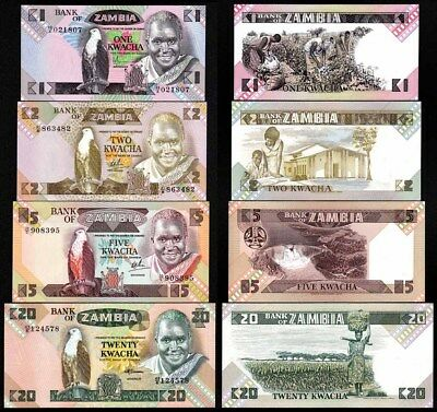 ZAMBIA (1980-88) Set of 4 UNC Banknotes