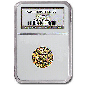 1987-W Gold $5 Commem Constitution MS-69 NGC - SKU#32190
