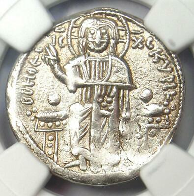 Andronicus II and Michael IX AR Basilicon Coin 1294-1320 AD - Certified NGC XF