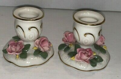 Vintage Pair DRESDEN CANDLE STICK HOLDERS With Roses