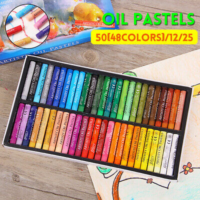 Artist Oil Pastels Set 12, 25, 48 Assorted Colors Pencil Crayons Drawing