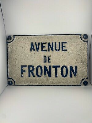 Authentic Antique French Metal Cast Iron Street Sign Plaque Avenue De Fronton