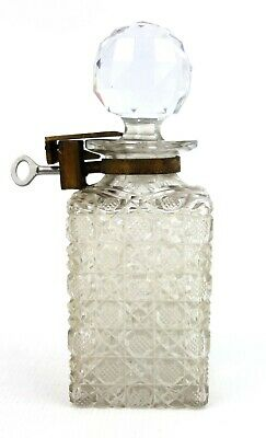 Antique Hobnail Cut Scent Perfume Medicinal Bottle With Lock And Key