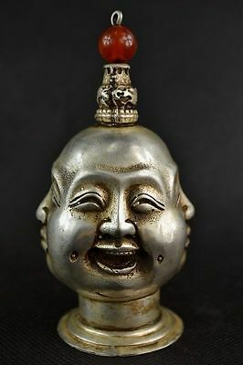 CHINA OLD copper plating silver HANDWORK CARVING 4 FACE BUDDHA SNUFF BOTTLE  b02