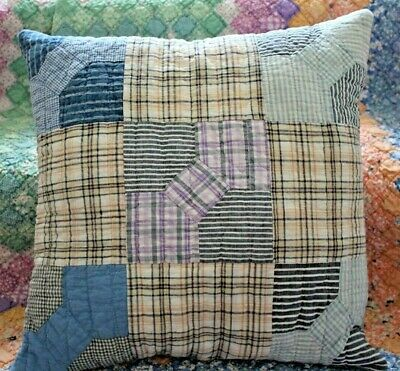 Throw Pillow With Vintage 1900s Bow Tie Hand Quilted Patchwork Farmhouse Quilt
