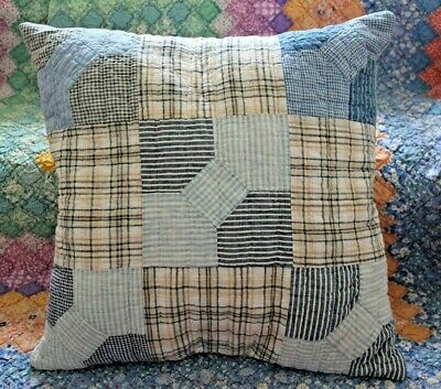 Throw Pillow From A Vintage 1900s Bow Tie Hand Quilted Patchwork Farmhouse Quilt