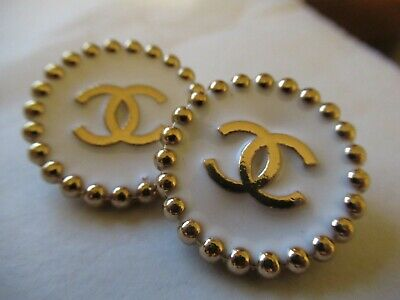 CHANEL 2 WHITE gold  BUTTONS lot of 2 sz 23mm  metal  cc logo, two pc
