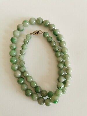 19C antique Chinese Qing dynasty Green Jade necklace
