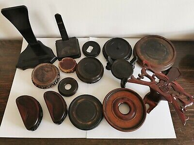 19-20c antique Chinese/Japanese hardwood stands 15 pieces