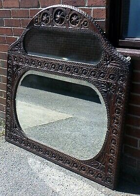 Large Victorian antique Arts & Crafts hand carved oak overmantel wall mirror