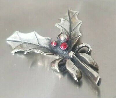 Vintage Solid Silver Italian made miniature of a Christmas Holly. Hallmarked
