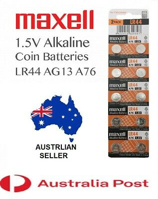 Maxell LR44 A76 AG13 1.5V 1.5 Volt ALKALINE BATTERY COIN CELL TOY GAME REMOTE