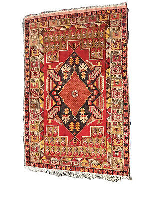 HANDMADE ANTIQUE TURKISH ANATOLIAN RUG Gold Red Black