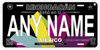 Michoacan Mexico Any Name Number Novelty Auto Car Black License Plate