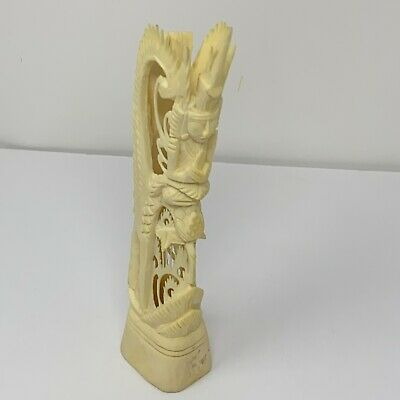 "Vintage Hand Carved Bovine Bone Asian Chinese Statue, 7"" Tall"