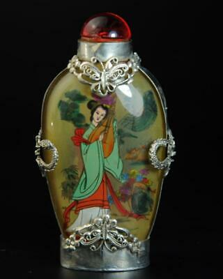 China Old Miao Silver inlay Glass Hand painted Wang Zhaojun snuff bottle /Ba02