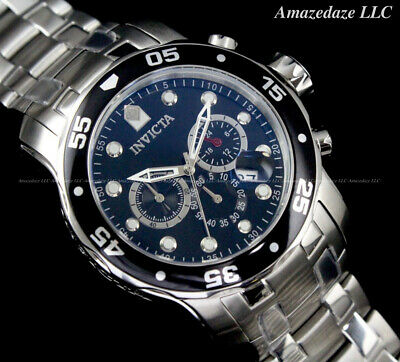 NEW Invicta Men 48mm Pro Diver Scuba Chronograph Stainless St. BLACK DIAL Watch