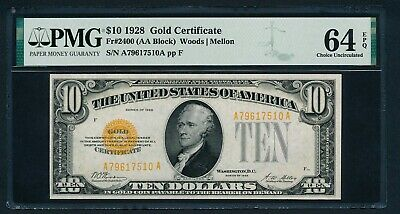 Fr2400 $10 1928 Gold Note Pmg 64 Epq Very Choice Unc (New Pmg Label & Holder!)