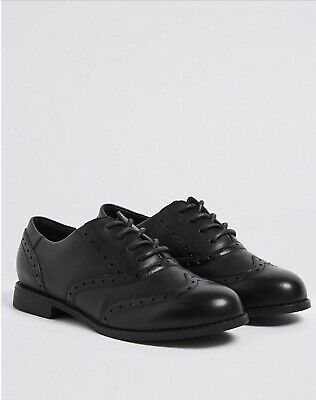 Marks And Spencer Kids Brogue School Shoes 13.5 Black