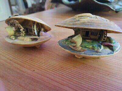 Pair of Antique Chinese Miniature Shell Ornament's