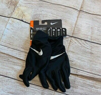 Nike Men's Dri-Fit Tempo Running Gloves tech touch Black/Silver Small S NWT