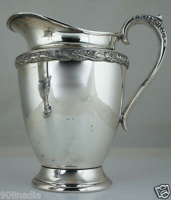 "Antique Silver Plate Pitcher/Jug Floral Rim & Handle ""Exquisite'' Pattern"