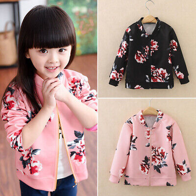 Girls Toddler Baby Bomber Coats Casual Floral Printed Loose Zip Outwear Jackets