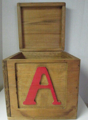 Vintage Handmade Crafted Carved ABC Solid Wood Storage Trunk Toy Box