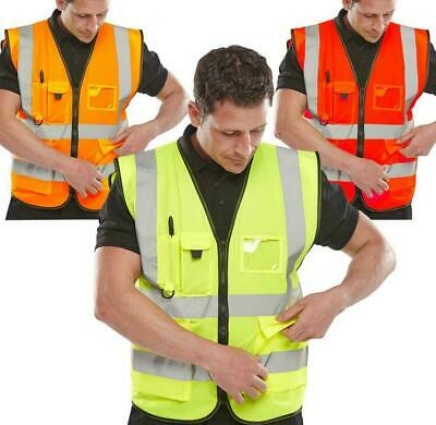 Hi Vis Viz Safety Vest High Visibility Waistcoat With Phone&ID Pocket Work Top