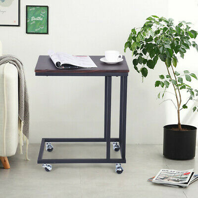 Snack Side Table Computer Desk Wood With Metal Frame And Rolling