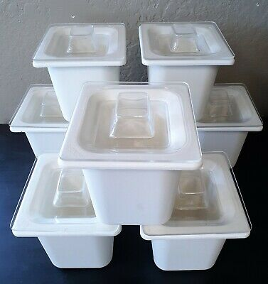 "Carlisle CM1104 Coldmaster 6"" D Sixth-size Food Pan 1.6 qt - Lot of 8"