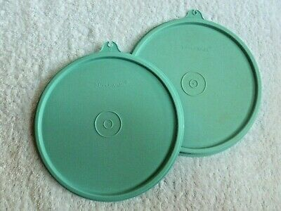 2 USED Tupperware Replacement Round Seal Lid ~ AQUA SEAFOAM GREEN mold #227
