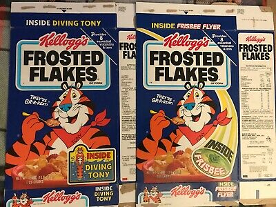 1987 Frosted Flakes Cereal Boxes. (2) Frisbee & Diving Tony Offers Kellogg's