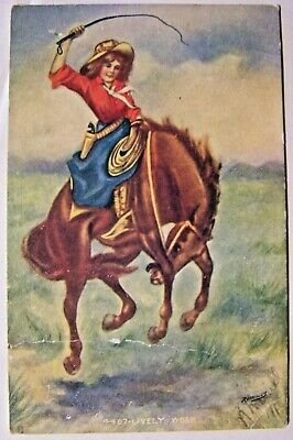 Vintage Postcard 1909 Cowgirl on Bucking Horse.