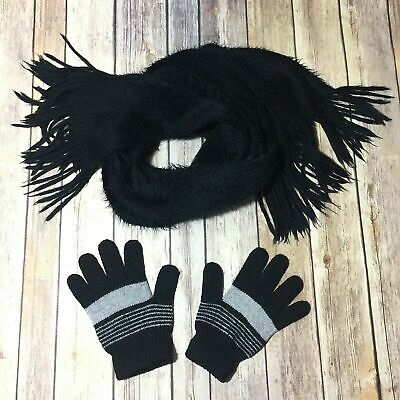 Women's Gloves and Scarf Black Furry Wrap Warm Soft Knit Mittens Stretchy  d