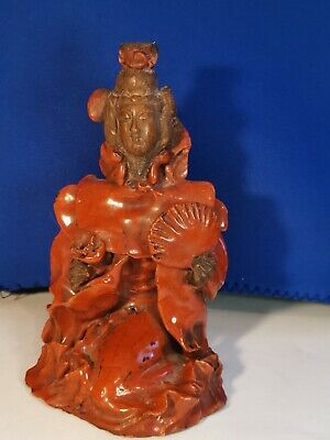 Antique / Vintage Oriental Chinese Glazed Red Terracotta Kwan-yin Figurine